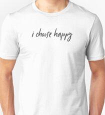 I choose happy - script black font Slim Fit T-Shirt