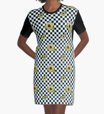 Sunflower Checkerboard Pattern  Graphic T-Shirt Dress