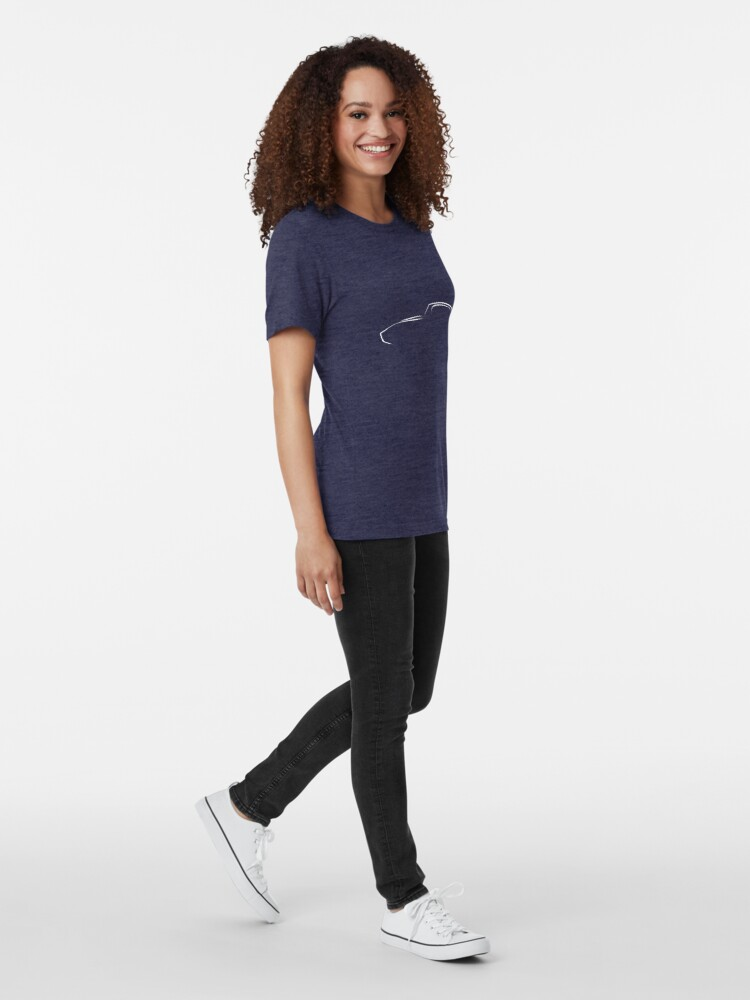 Alternate view of Profile Silhouette E type - white Tri-blend T-Shirt