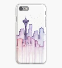 Seattle Skyline Watercolor Silhouette iPhone Case/Skin