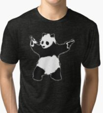 Banksy Panda with guns black and white Graffiti Street art with Banksy signature tag on white background HD HIGH QUALITY ONLINE STORE Tri-blend T-Shirt