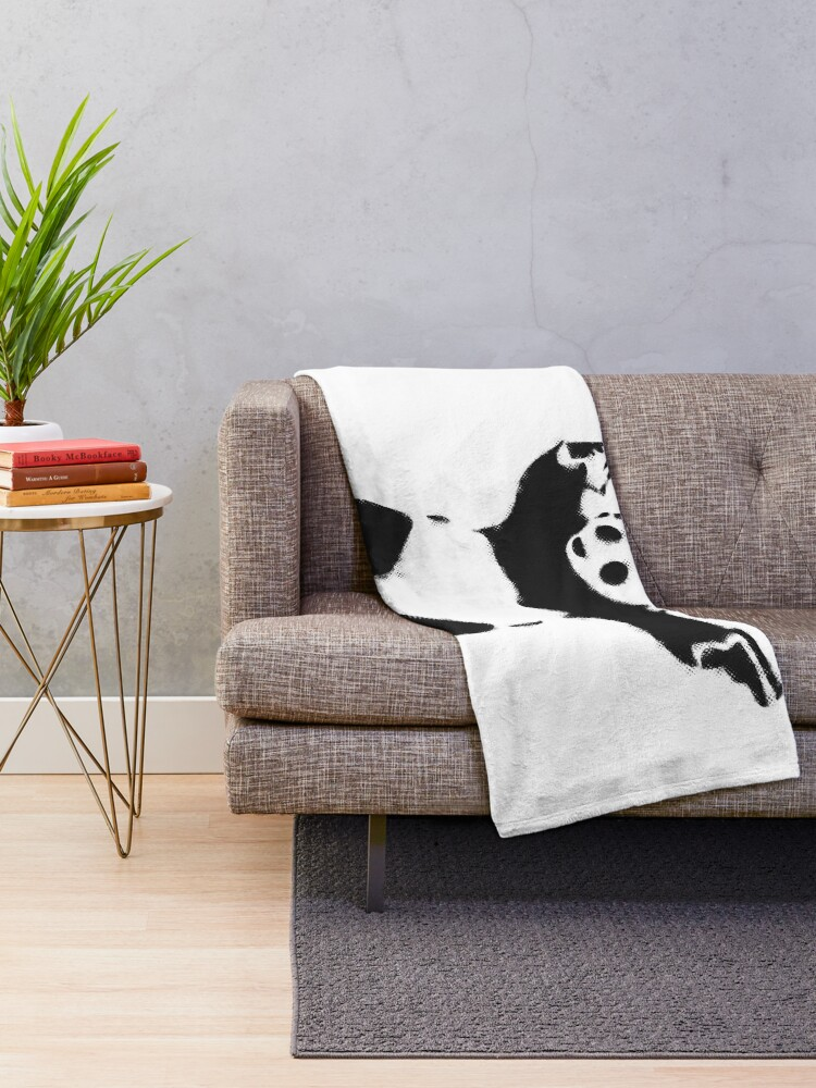 Alternate view of Banksy Panda with guns black and white Graffiti Street art with Banksy signature tag on white background HD HIGH QUALITY ONLINE STORE Throw Blanket