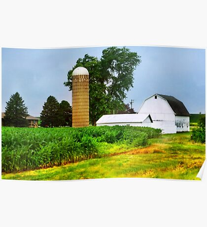 Silo and a Small White Barn Poster