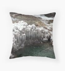 Plitvice Lakes Winter Throw Pillow