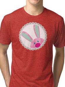 BUNNIES :: peeking circle 5 Tri-blend T-Shirt