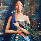 A Girl and her Peacock by Irene Owens