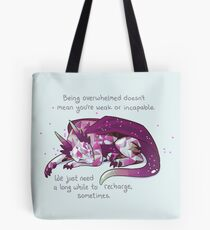 """Being overwhelmed doesn't mean you're weak or incapable"" Gemstone Dragon Tote Bag"