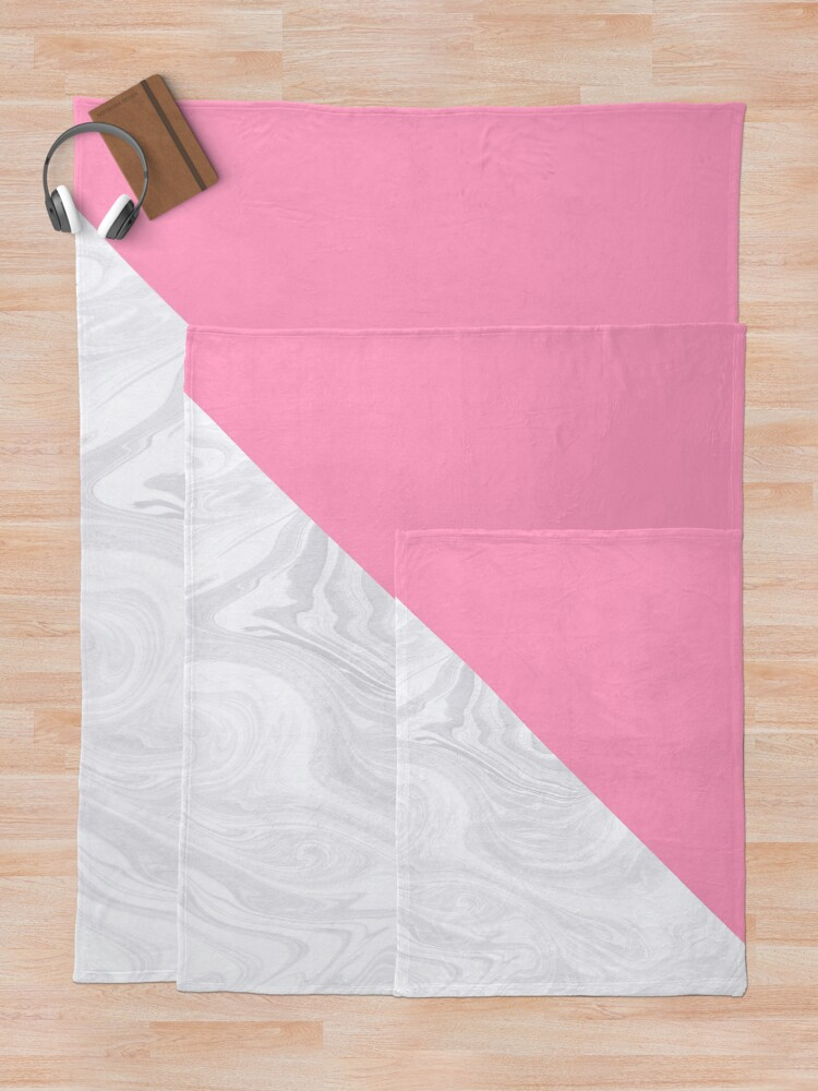 Alternate view of Pink and White Marble Texture Throw Blanket