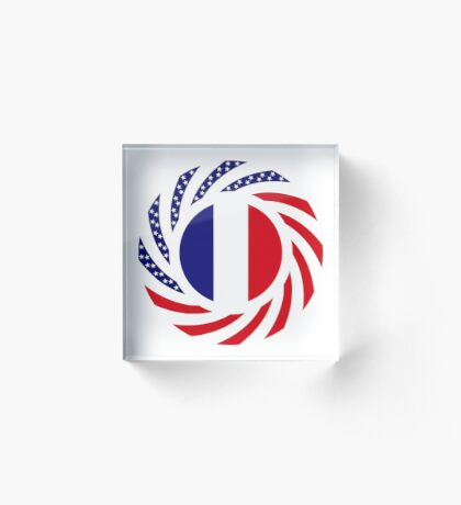 French American Multinational Patriot Flag Series Acrylic Block