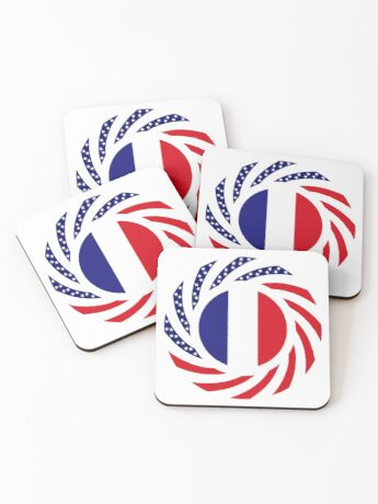 French American Multinational Patriot Flag Series Coasters
