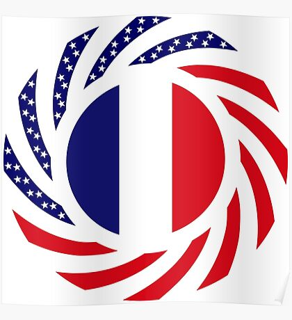 French American Multinational Patriot Flag Series Poster