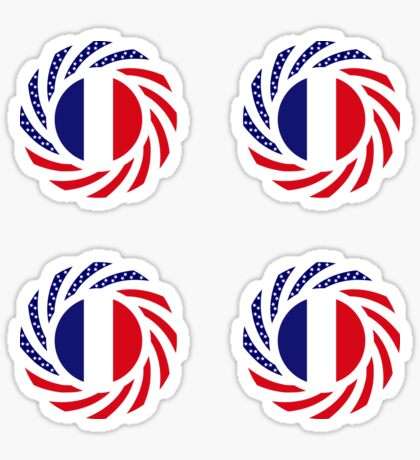 French American Multinational Patriot Flag Series Sticker
