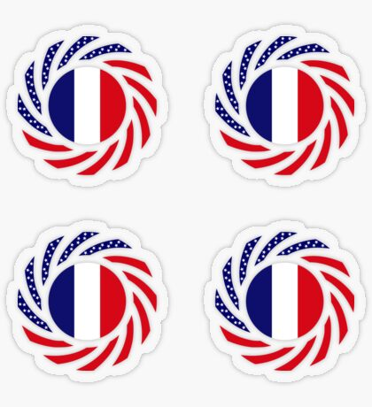 French American Multinational Patriot Flag Series Transparent Sticker
