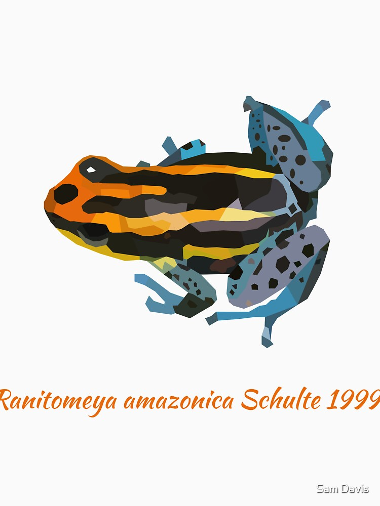 Orange and blue poison dart frog portrait drawing by reallyjustsam