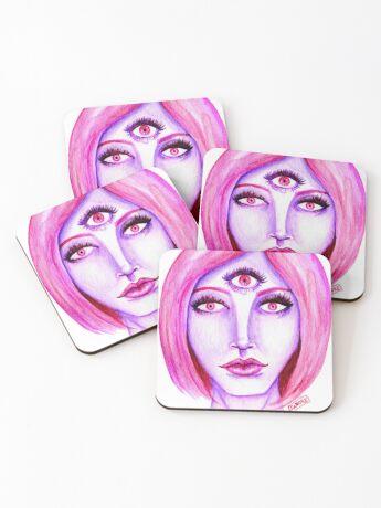 Pink Hair, Purple Skin Coasters
