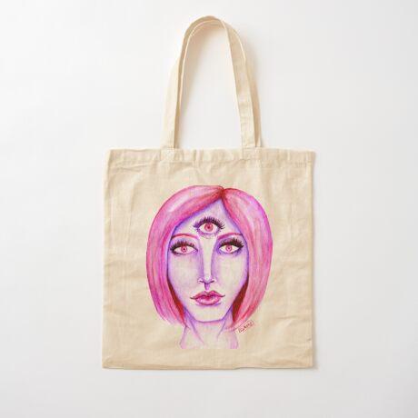 Pink Hair, Purple Skin Cotton Tote Bag