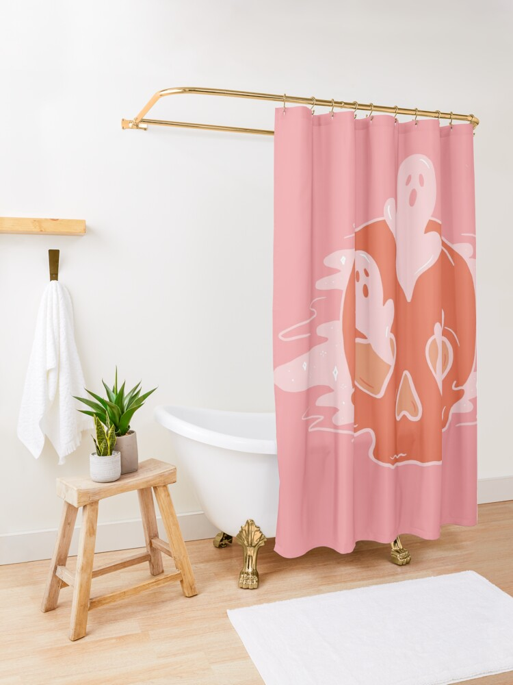 Alternate view of Spooks and Skull Shower Curtain