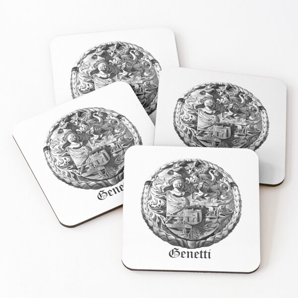 Genetti Coat-of-Arms with Surname Coasters (Set of 4)