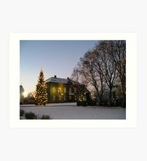 Christmas at the Borg Hotel in Reykjavik Art Print