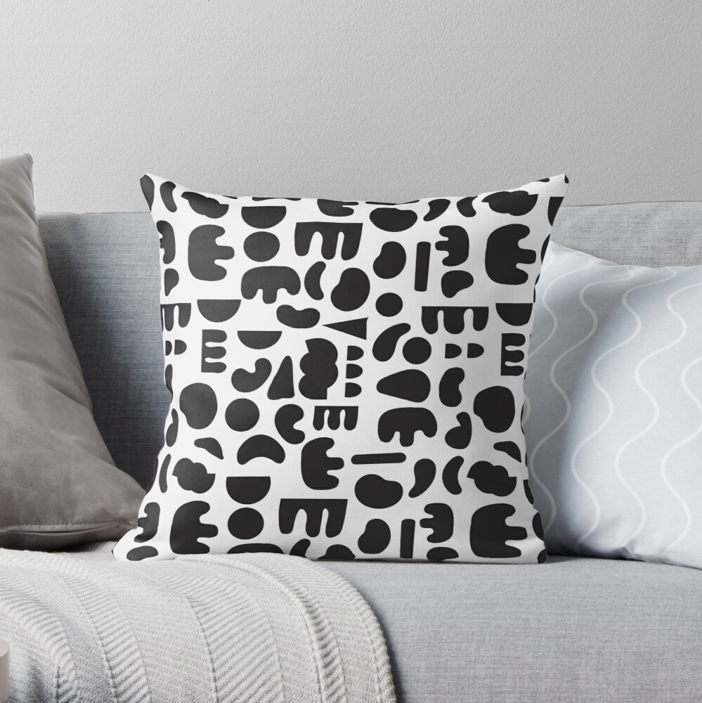 Black and white - abstract pattern dance Throw Pillow