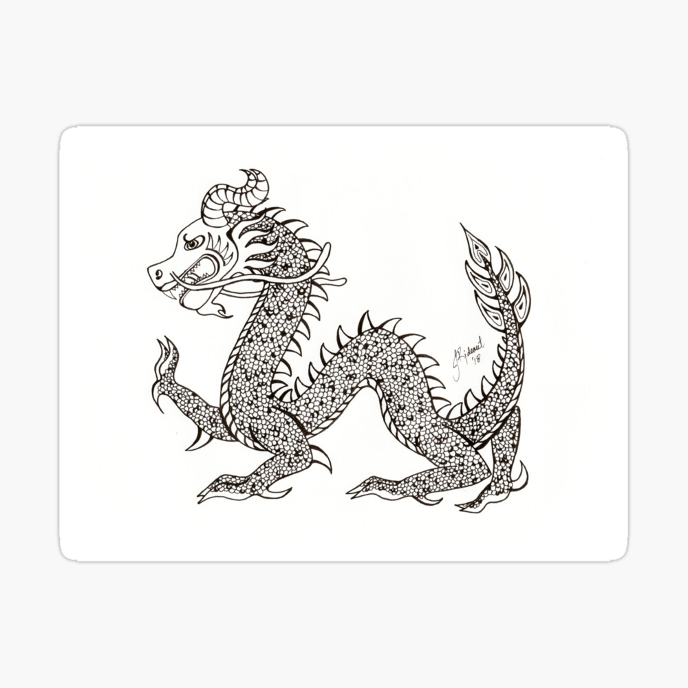 Chinese Dragon BW 2018 Sticker