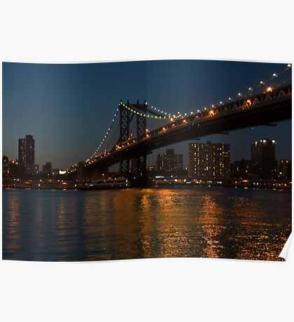 manhattan bridge at night Poster