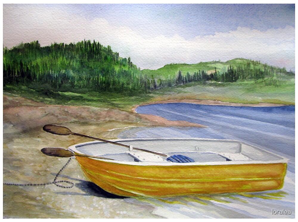 Yellow Row boat at Neys Provincial park - Ontario by loralea