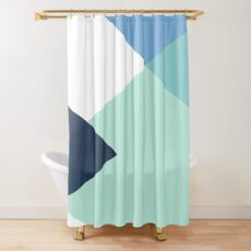 Geometrics - seafoam & blue concrete Shower Curtain