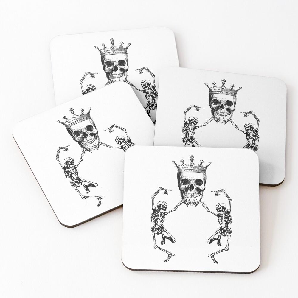 Skull King and Dancing Skeletons   Vintage Skulls   Vintage Skeletons   Black and White   Coasters (Set of 4)
