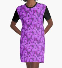 Puya Flowers Botanical Floral Pattern, Purple Magenta Lavender Graphic T-Shirt Dress