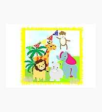 Kids Fun Cartoon Jungle Animals Photographic Print