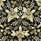 Dark Neutral Floral Pattern In Black And Tan by somecallmebeth