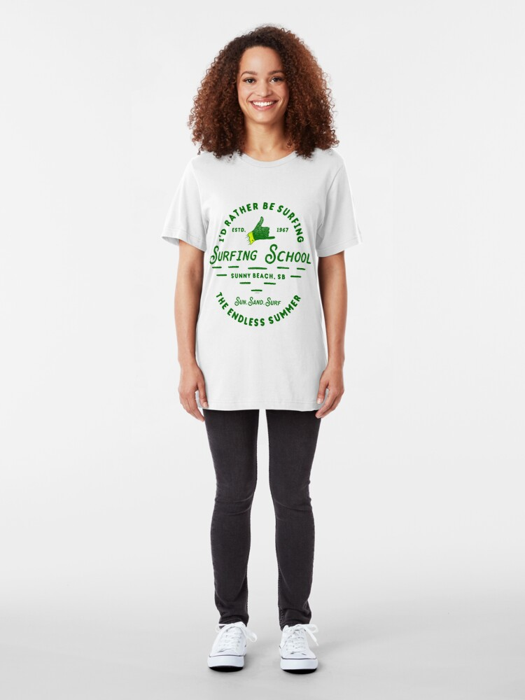 Alternate view of Ye Old Surfing School Slim Fit T-Shirt