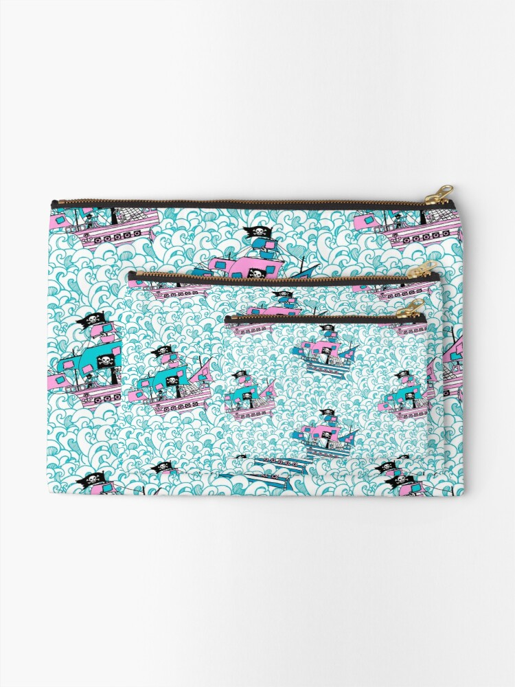 Alternate view of Pretty Pirates // Pirate ships on stormy oceans. Zipper Pouch
