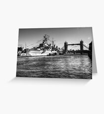 HMS Belfast and Tower Bridge 2 in Black and White Greeting Card