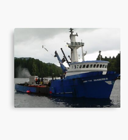 Salmon Boat Canvas Print