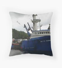 Salmon Boat Throw Pillow