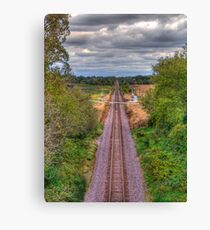 Tracks Ahead- a birdseye view Canvas Print