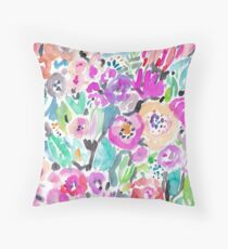 Wild Garden Painterly Watercolor Floral Throw Pillow