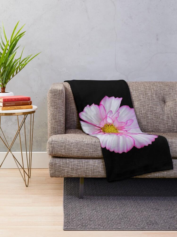 Alternative Ansicht von Blume in pink & weiß, Blumen, Blüte, Garten, Natur Fleecedecke