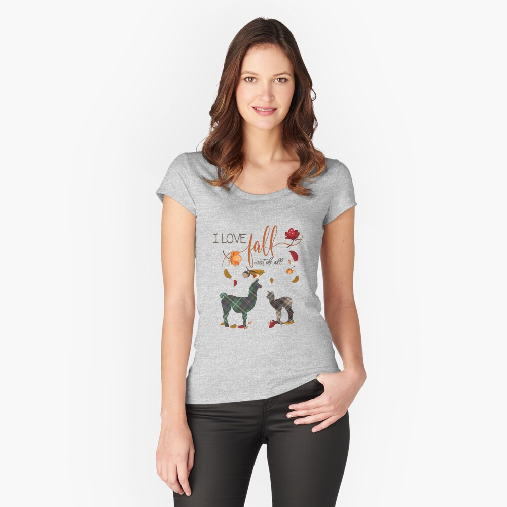 Llama Lovers - I Love Fall Most of All  Fitted Scoop T-Shirt