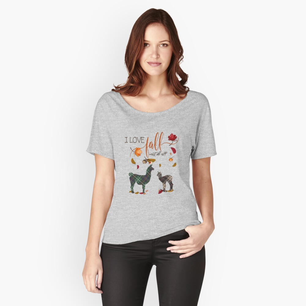 Llama Lovers - I Love Fall Most of All  Relaxed Fit T-Shirt