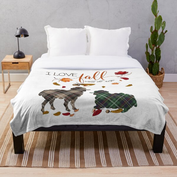 Sheep Lovers - I Love Fall Most of All  Throw Blanket