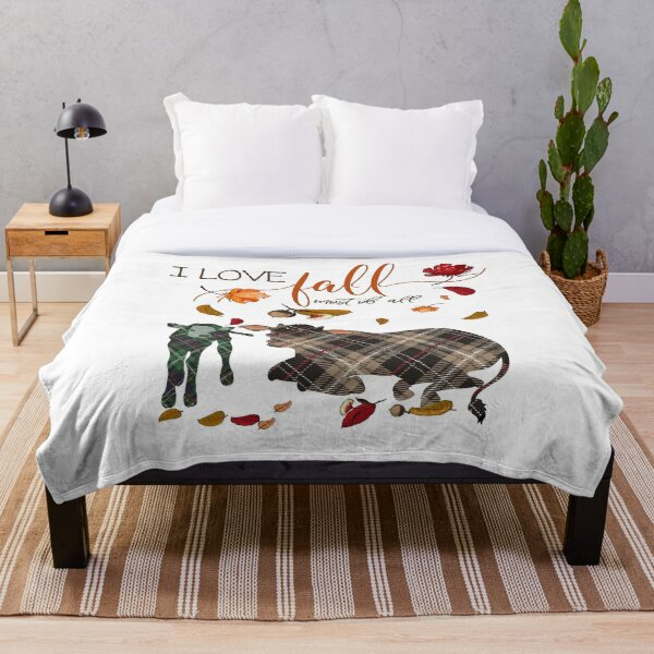Cow Lovers - I Love Fall Most of All  Throw Blanket