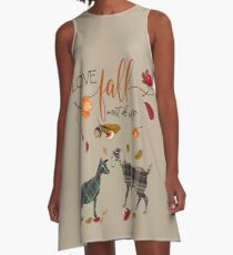 Goat Lovers - I Love Fall Most of All  A-Line Dress