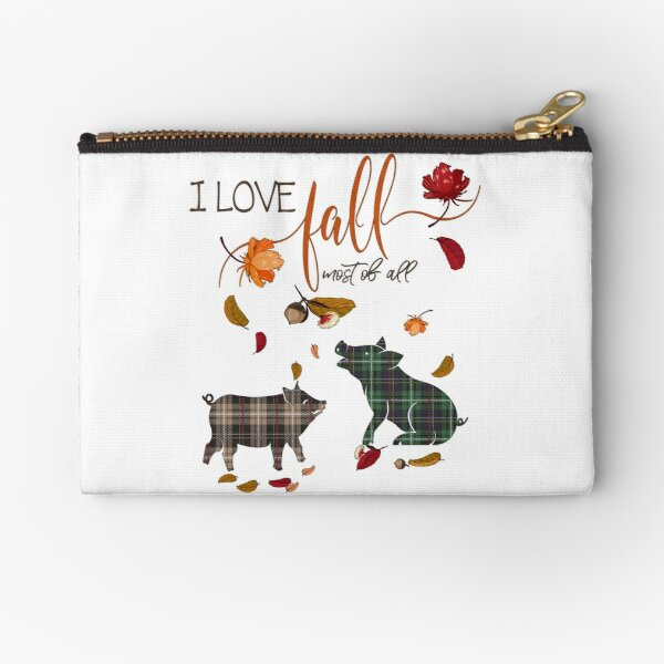 Pig Lovers - I Love Fall Most of All  Zipper Pouch