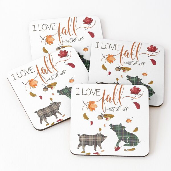 Pig Lovers - I Love Fall Most of All  Coasters (Set of 4)