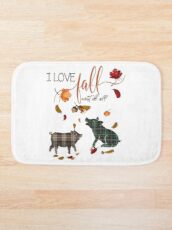Pig Lovers - I Love Fall Most of All  Bath Mat