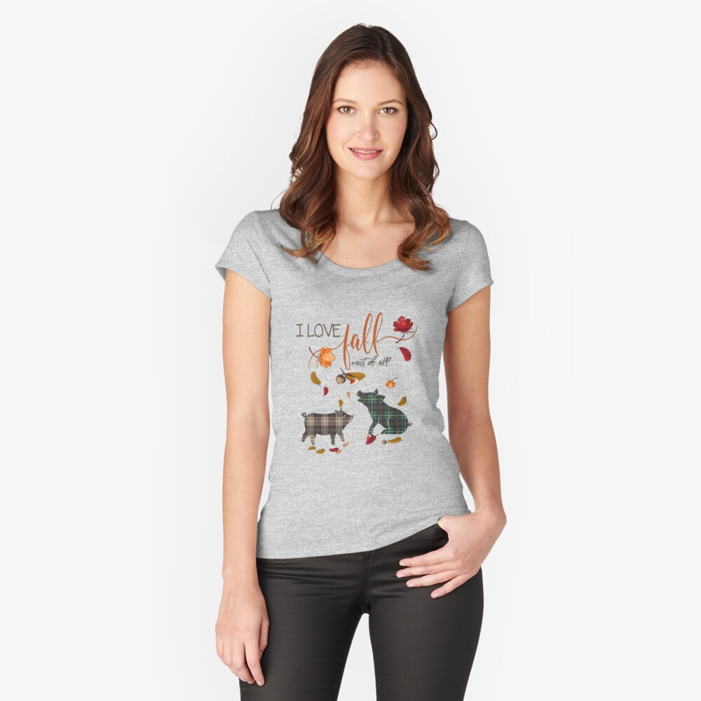 Pig Lovers - I Love Fall Most of All  Fitted Scoop T-Shirt