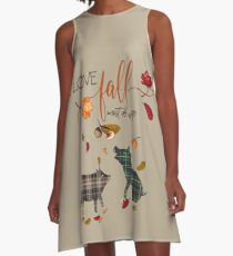 Pig Lovers - I Love Fall Most of All  A-Line Dress